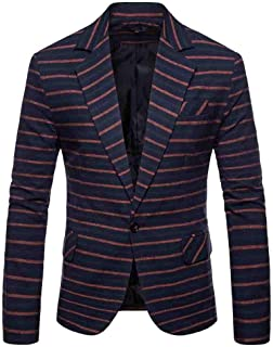 Mens Casual Suit Blazer Slim Fit Coats Jackets Autumn Winter Long Sleeve Striped Suit Lapel Jacket Top Blouse Goosun One B...