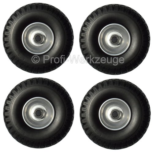4 Stück Luft Rad Bollerwagen-Set Mit 4 PR Lagieg für Achse 20 mm Bollerwagen-rad 260 mm Stahl Felge Sackkarren-rad mit Lager Reifen