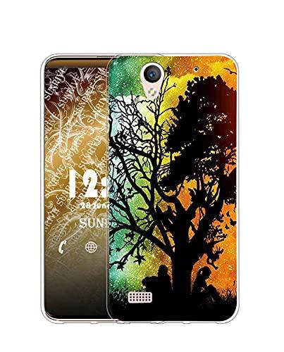 Sunrive Kompatibel mit Sony Xperia C4 Hülle Silikon, Transparent Handyhülle Schutzhülle Etui Hülle (Q Baum)+Gratis Universal Eingabestift MEHRWEG