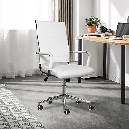 clife Ergonomic Ribbed Leather office chair with Tiltable back support, Height adjustment Seat and Comfortable Armrest,360°rotation Chrome Caster wheel with Rubber coating computer chair…