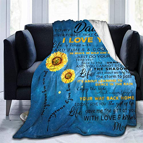 "Sunflower to My Daughter Never Forget That I Love You Throw Blanket Flannel Fleece Air Conditioning Quilt Best Gift Lightweight Cozy Plush Blanket for Sofa Chair Bedroom Small 50""X40"""
