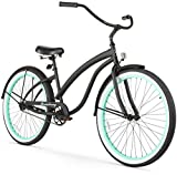 Firmstrong Bella Fashionista Single Speed Beach Cruiser Bicycle, 26-Inch, Matte Black/Green Rims