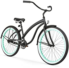 Fashionable, curvy 26-inch single-speed cruiser bike for easy, relaxed riding Sleek cruiser design with 17-inch durable steel frame, elegant thick top tube, front and rear fenders, and painted rims White-wall balloon tires for a cushioned ride; easy-...