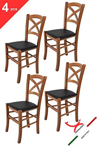 Tommychairs sillas de Design - Set de 4 sillas Modelo Cross para Cocina, Comedor, Bar y Restaurante, con Estructura en Madera Color Nuez y Asiento tapizado en Polipiel Color Negro