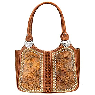 Montana West Handbag Western Floral Tooled Women's Fashion Tote Purse MW766-8110 (Brown)