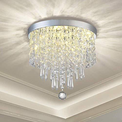 Moderna lámpara de cristal K9 con un diseño elegante, redonda, 3 portalámparas, bonita lámpara de techo de cristal para pasillo, salón, dormitorio, comedor, hotel, restaurante.