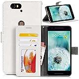 DONZO Tasche Handyhülle Cover Hülle für Das LG Nexus 6P in Weiß Wallet Washed als Etui seitlich aufklappbar im Book-Style mit Kartenfach nutzbar als Geldbörse