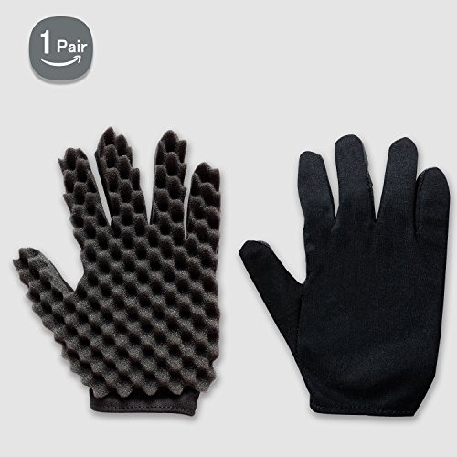 Curl Hair Sponge Gloves Tutorial for Barbers Wave Black Twist Brush Styling Tool For Men and Women Curly Hair Care Dreads Afro Locs Twist Dreadlocks Coil By Kasimedo(1 Pair)