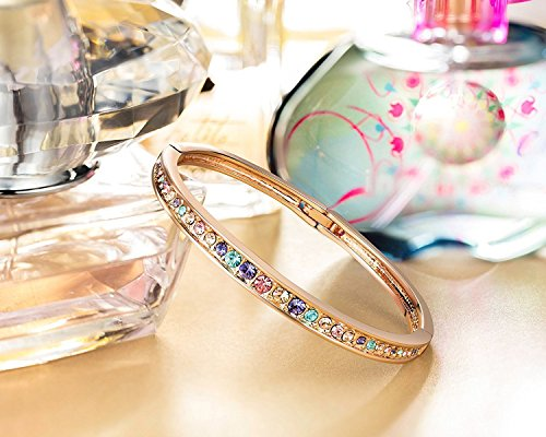 Brilla Christmas Gifts for Women Rose Gold Plated Bangle Bracelet Women Fashion Jewelry With Swarovski Crystals,7″
