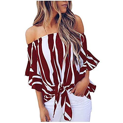 AMhomely Summer Tops for Women Sale,Ladies Stripe Sexy Off Shoulder Neck 3/4 Flared Bell Sleeve Knotted Shirt Tops Plus Size Elegant UK Size
