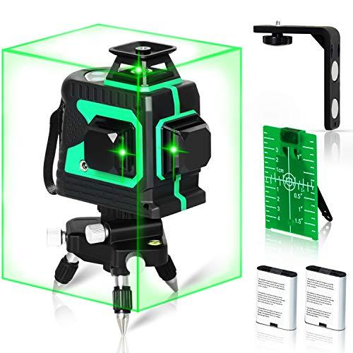 Professional Kreuzlinienlaser Selbstnivellierend 25m 3x360° Grüne Linie, IP54, 2 * 4000mAh Akku, inkl. Stativ, Magnetische Halterung, Laserzieltafel, Schutztasche