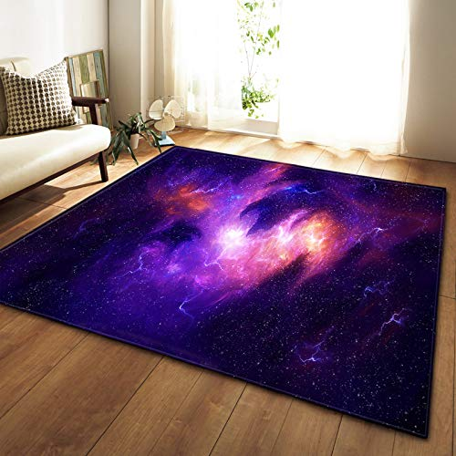 XuJinzisa Starry Sky Space Stars Alfombra Antideslizante De Franela Súper Suave Impresión 3D Sala De Estar Dormitorio Alfombra Decoración del Hogar Estera W6775 180X180Cm