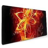 炎の花 マウスパッド デスクマット 400x900mm ゲーミング用 オフィス用 防水 滑り止め 大型 おしゃれ