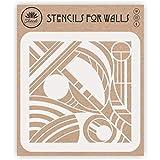 Plantilla de arte abstracto, 35,56 x 35,56 cm (L) – Expresionismo moderno para decoración de pared con plantilla para pintura