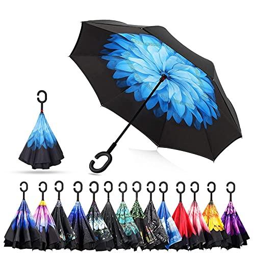 Paraguas invertido de doble capa C forma manija inversa plegable anti viento azul lluvia paraguas viaje al aire libre