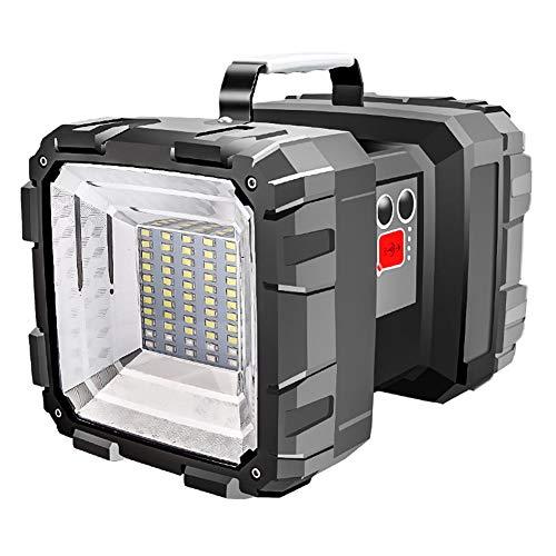 Tragbare Außenleuchten, PER doppelter Kopf super helle Taschenlampe Scheinwerfer wiederaufladbare LED Fluter Handscheinwerfer mit eingebauter 10000mAH Batterie für Angeln, Wandern, Camping, Jagd