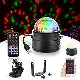 Herefun Luces Discoteca, Discoteca Luces RGB LED Mini Crystal Magic Bola Giratoria Efecto LED Escenario Luces para Cumpleaños, Discoteca, Fiesta, Bar, Navidad, Bodas
