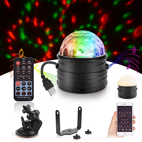 Herefun Luces Discoteca, Discoteca Luces RGB LED Mini Crystal Magic Bola Giratoria Efecto LED Escenario Luces para Cumpleaños, Discoteca, Fiesta, Bar, Navidad, Bodas