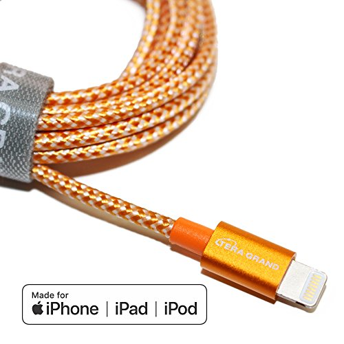Tera Grand - Apple MFi Certified Lightning to USB Braided Cable, for iPhone 12/11 Pro Max Mini, SE XS Max XR X, 8/7/6 Plus, iPad, AirPods, 7 ft Orange/White