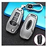 ZhengFeng Shop Caja de la llave de la llave Ajuste para Ford Fusion Fiesta Escort Mondeo Everest Ranger 2019 S MAX KUGA 2 FOCUS MK3 ECOSPORT HOLDE Accesorios ( Color Name : Silver with keychain )