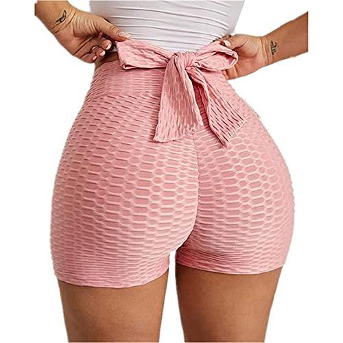 Vlinderdas getextureerde butt-lifting sportshort, hoge taille buikcontrole hotpants, dames butt-lifting legging-roze_M