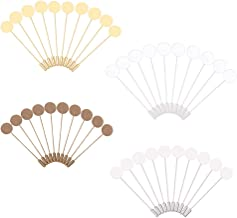 PH PandaHall 40 pcs 4 Colors 15mm Brass Flat Round Tray Lapel Pin Stick, Blank Brooch Pin Safety Pins Brooches for Men Wom...