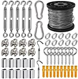 1/16 Wire Rope Kit, 304 Stainless Steel Wire Cable, Vinyl Coated Aircraft Cable, 7x7 Stranded Core Outdoor Light String Suspension Kit, With Turnbuckle, Tension Screw Eye, Aluminum Crimping Ring, Expansion Hook(50M/165FT ,56)