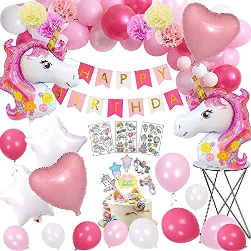 Unicornio Globos Cumpleaños Niña,MMTX 3D Unicornio Globos de Cumpleaños con 2 Enorme...