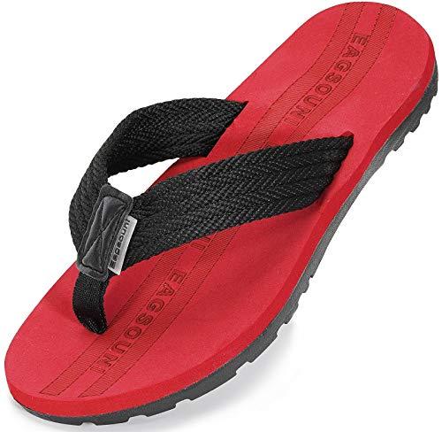 Infradito Uomo Donna Sandali Flip Flops Pantofole Ciabatte da Mare per Spiaggia e Piscina Estate Scarpe da Casa, Nero Rosso, 44 EU