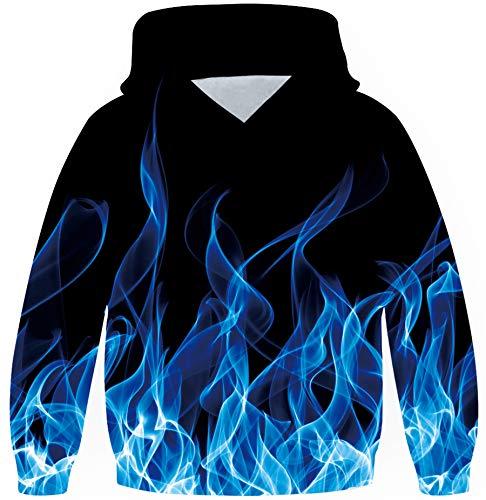 Loveternal Flamme Kapuzenpullover 10-13 Jahre 3D Hoodie Flame Langarm Sweatshirt Poullover für Frauen Männer mit Kordelzug XXL
