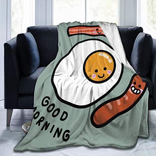 AIRMARK Flannel Fleece Throw Blanket,Morning Message Egg Bacon Sausages Personalised Soft Warm Fuzzy Lightweight 60'x50'