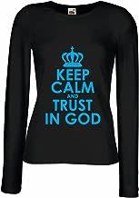 T Shirt Women Trust in God! Jesus Christ Loves You Shirt - Easter - Resurrection - Nativity, Christian Clothing (Medium Black Blue)