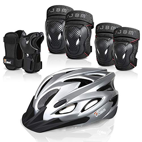 JBM 7 Pieces Protective Gear Set- Bike Helmet for Adult Knee&Elbow Pads and Wrist Guards, Adjustable Cycling Helmet with Visor Safety Pad Set Outdoor Sports Protective Gear Set (Silver, Adult)