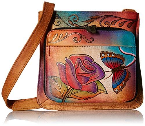 Anna by Anuschka Schultertasche, echtes Leder, handbemalt, Original-Artwork, (Rose Schmetterling), Einheitsgröße