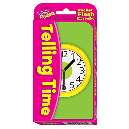 TREND ENTERPRISES INC. T-23015 POCKET FLASH CARDS TELLING TIME 3 X 5 56 TWO-SIDED CARDS