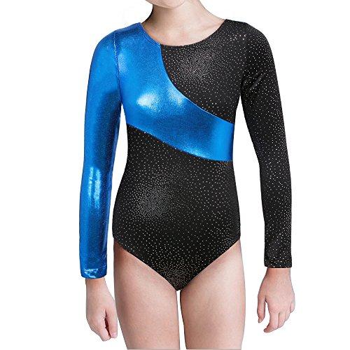 Kidsparadisy Mädchen Gymnastik-Turnanzug Tanzkleidung Lange Ärmel Regenbogen Streifen zum 2-15 Jahre (Blue, 160(12-13T))