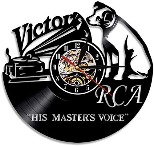 ZZLLL Reloj de Pared de Vinilo para Perro, Reloj de Pared con música de Voz de su Maestro, Reloj de Pared para Perro, decoración para Sala de Estar, CD, Reloj de Pared con Registro de Vinilo, Regalo