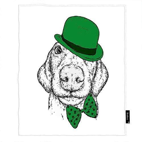 Seemuch Manta de forro polar para cachorros de Patricio, con diseño de dibujos animados, cabeza de perro, trébol floral, suave y cálida, para dormitorio, oficina, hogar, sofá, cama, 152 x 200 cm