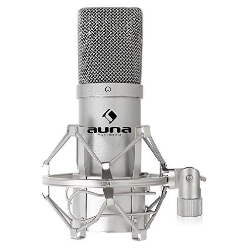 "auna MIC-900S - USB Kondensator-Mikrofon, Nierencharakteristik, Metallgehäuse, 30Hz - 18kHz, Plug & Play, Mikrofonspinne mit 3/8"" zu 5/8"" Gewinde-Adapter, USB-Kabel, Schutztasche, silber"