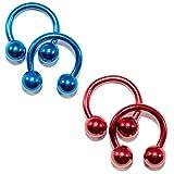 BodyJewelryonline Erwachsenen eloxiertem Titan 14ga Hufeisen Circular Barbells rot/blau 2Pairs