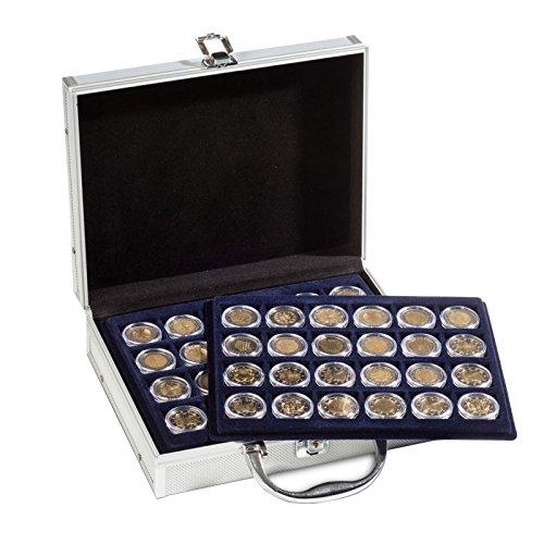 Star Collect Münzenkoffer für 144 2- Euro Münzen in Kapseln Abschließbar Schwarzer Velour