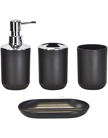 No-Branded Bagno Wash Set 6Pcs di bamb/ù Bagno Set Porta scopino Spazzolino Tazza di Vetro Dispenser di Sapone Sapone for i Piatti Accessori for Il Bagno Color : Nero, Size : Gratuito