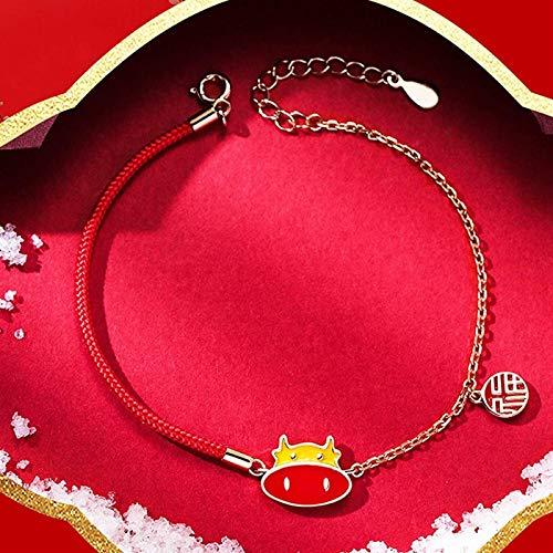 Plztou Lucky Charm Bracelet 2021 Año del OX S925 Cambio DE Color Color CABEZ CABEZO DE OXTÍNICO FU Pendiente Red Rope Pulsera Ajustable Amuleto Ajuste alejado Espíritu Malvado, Plata