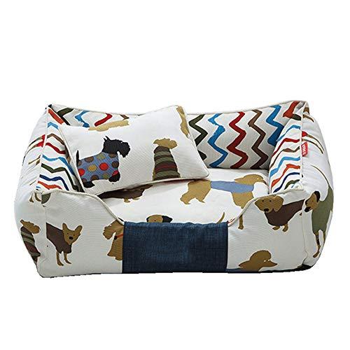 XYBB Huisdierbed, huishond, kussen, ademend, ligbank, bankje voor kleine middelgrote honden huisdieren, M 58x45x20cm, Bruin met kussen.