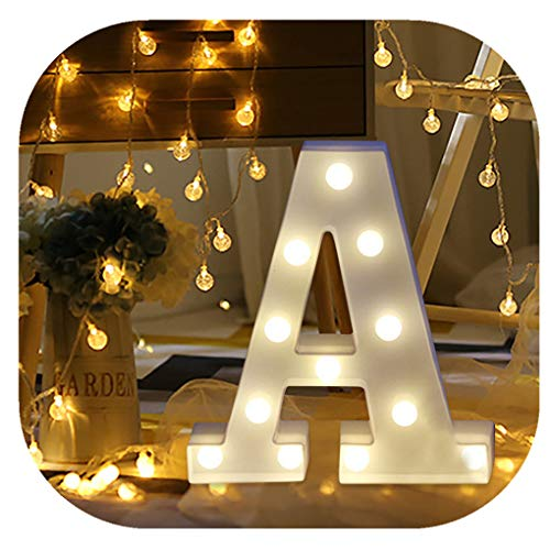 Hot Sale Letter Lights,Keepfit Light Up White Plastic Standing Hanging Alphabet Number Light Decorative Lights Signs for Home Party(A, 8.7 x7.1 x1.8 )