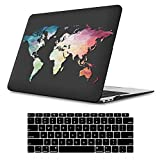 iLeadon MacBook Air 13 Inch Case 2020 2019 2018 Release A2337 M1 A2179 A1932, Plastic Hard Shell Protective Case for Apple Newest MacBook Air 13 Inch with Retina Display fits Touch ID, Black Map