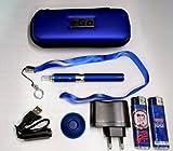 Estuche, Kit completo:(vapeador) cigarrillo electrónico azul eGo CE4+ 900mAh + golgante + regalos: mecheros de coleccion Betty Boop y Route 66