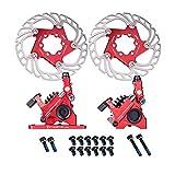 MGCD Freno de Disco de Bicicleta de montaña hidráulico 140 mm de Freno de Disco de Bicicleta para la Bicicleta de Carretera de montaña 2 PCS/Set Road Bike Disc Frenos (Color : Red)