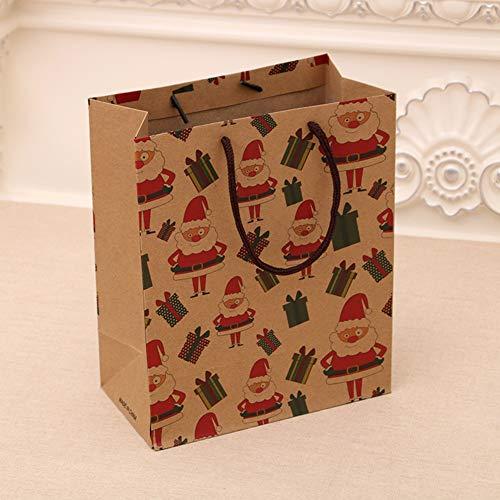 RONSHIN Kerstmis Decoratie Geschenken, 12 Stks 26x10x32cm Cartoon Kerstmis Serie afdrukken Kraft Paper Tote Bag voor Rode Wijn