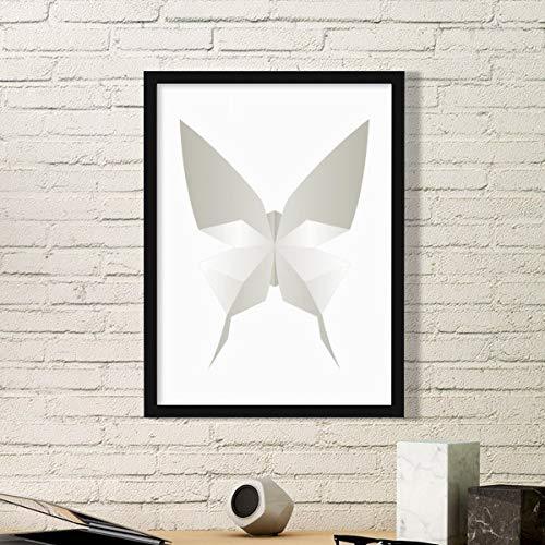 DIYthinker Mariposa Blanca de Origami Modelo Abstracto Arte Pintura Foto de la Imagen del rectángulo de Madera del hogar del Marco Regalo decoración de la Pared Medio Negro